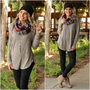 Taupe Soft Ribbed Knit Long Sleeve Tunic
